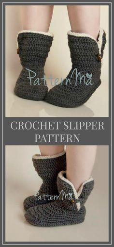 Crochet Slipper Pattern - Crochet Boots Pattern - PDF Instant Download - Women's Boots Pattern - Kids Boots Pattern #crochet #crochetpattern #crocheting #ad #boots #slippers #crafts