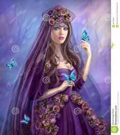 Beautiful Woman Fairy And Blue Butterflies Stock Illustration - Image: 69778632