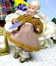 Schildkröt Puppe Inge, 18 cm, blond, blaue Augen, ehemalige Puppenstubenpuppe,