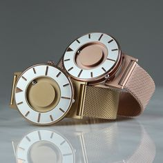 Watch brand Eone has launched its tactile Bradley watch in gold and rose gold. #watches #design #meshstrap #metallics