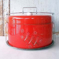 Vintage Red Metal Cake and Pie Carrier