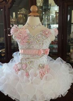 New White Girls Kids Pageant Dresses Formal Occasion Tiers Beaded Organza Halter Mini Prom Party Baby Little Girl Gowns 2015 Hot Pagent Dresses For Kids, Glitz Pageant Dresses, Pageant Wear, Girls Tutu Dresses, Gowns For Girls, Prom Dresses, Little Girl Gowns, Little Girl Pageant Dresses, Purple Bridesmaid Dresses