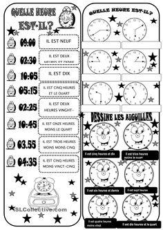 Quelle heure est-il? | Gratuit FLE  worksheets
