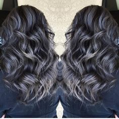 "Hot on Beauty on Instagram: ""Beautiful silver gray highlights over smoky darkest brunette hair by @sydniiee She has such a talent for smoky hair color designs as well as vibrant a and pastels. #hotonbeauty"""