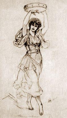 A Dancing Gypsy Girl With a Tambourine  I.Tarczalowicz  Polish artist, Drawing  http://english.svenko.net/paintings/tambourine_2.htm