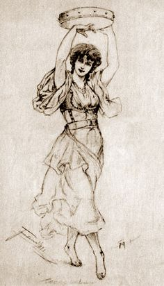 A Dancing Gypsy Girl With a Tambourine  I.Tarczalowicz  Polish artist, Drawing  http://english.svenko.net/paintings/tambourine_2.htm