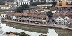 boat quay and singapore river after cleanup 1987