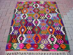 VINTAGE Turkish Kilim Rug Carpet Handwoven Kilim by sofART on Etsy, $209.00