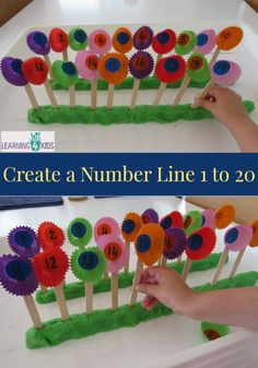 Create a number line 1 to 20 with this fun hands-on activity. This activity can be adapted to fill in the missing numbers on the number line. Great for counting, early math, math activity for preschool, prek, and kindergarten age children Maths Eyfs, Numeracy Activities, Spring Activities, Hands On Activities, Kindergarten Math, Fun Math, Preschool Activities, Math Math, Number Line Activities