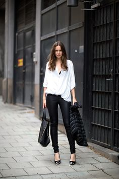 Caroline Blomst Pants and top from Helmut Lang, jacket from IRO, bag from  Celine and heels from Topshop. PragmaticMom · Aspirational Style f119c963c3