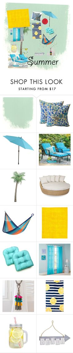 """""""summer loving"""" by chihuahuagirl ❤ liked on Polyvore featuring interior, interiors, interior design, home, home decor, interior decorating, Pier 1 Imports, Improvements, Sunset West and Yellow Leaf Hammocks"""