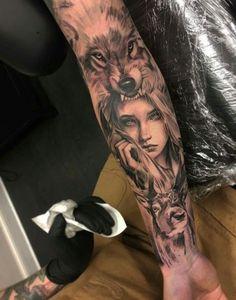 Tattoo Ärmel Frau Wolf 46 Ideen - Tattoo designs tattoos for women Tattoos 3d, Forarm Tattoos, Trendy Tattoos, Body Art Tattoos, Tattoos For Guys, Chicano Tattoos, Tattoo Pics, Tattoo Ideas, Wolf Sleeve