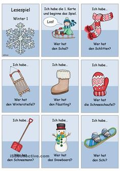 Lesespiel_Winterwörter 1 _einfach (1/3) German Resources, Deaf Children, Seasons Activities, Paper Doll House, German Language Learning, German Words, Learn German, Language Activities, Teaching Materials