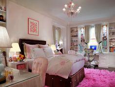 girl's rooms - pink walls chocolate brown velvet headboard pink