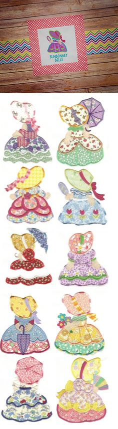 Sunbonnet Belles Applique design set is available for instant download…