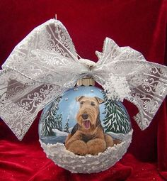 Airedale Terrier 360 Wrap Around Winter Scene Christams Ornament