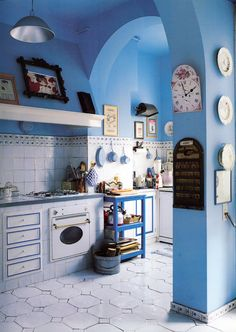 Rustic Style French Country Kitchen With Light And Airy Cornflower Blue