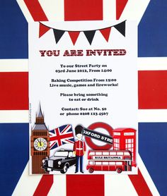 British party invites, just add a cat
