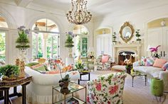 Traditional Living Room by Mario Buatta in Palm Beach, Florida
