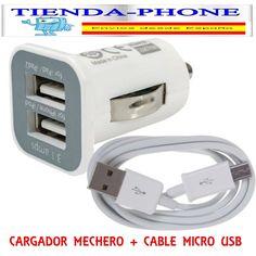 3.1A Doble USB CARGADOR COCHE MECHERO+CABLE MICRO USB UNIVERSAL SAMSUNG HTC LG,,