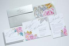 Watercolor Floral Script Wedding Invitation Peonies by OneSuiteDay