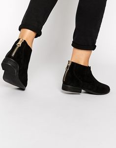 Buy ALDO Rairdon Black Suede Flat Ankle Boots at ASOS. Get the latest trends with ASOS now. Black Leather Flats, Black Ankle Booties, Suede Flats, Black Suede, Heeled Boots, Bootie Boots, Shoe Boots, Latest Shoes, Shoes