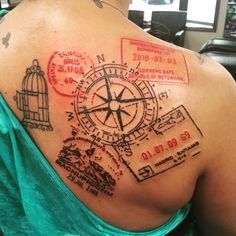 New tattoo!! These are real passport stamps from places I've been. Thanks @stlouistattoo #traveltattoo #compass #passportstamps