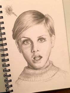 Twiggy Graphite pencil portrait drawing illustration, pixie cut, by Mina Fordyce