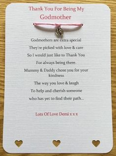 Thank You For Being My Godparents, Godmother, Godfather, Christening Card Gift Godparent Poems, Godparent Gifts, Baptism Ideas For Godparents, Christening Party, Baptism Party, Baby Boy Christening Decorations, Christening Thank You Cards, Godmother Gifts, Godmother Quotes