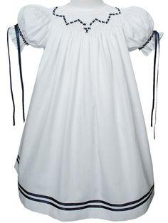 White and navy ribbon heirloom dress – Carousel Wear