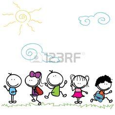 felices los ni os doodle de ir a la escuela al aire libre Foto de archivo