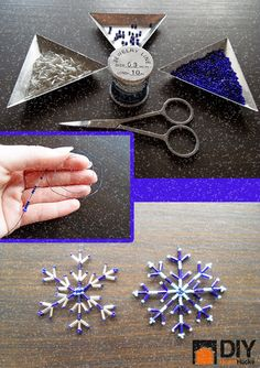 How to make a snowflake out of beads and wire 1.Bugle beads 2.Small seed beads 3.Large seed beads 4.1.5m piece of 0.3mm wire 5.Scissors