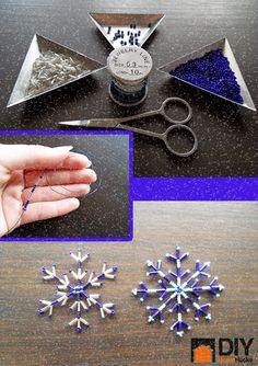 ¿Cómo hacer un copo de nieve de perlas y alambre
