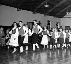 Sons of Norway, Norrona Lodge Dance Group, 1954. They performed at the Sons of Norway's second convention held at district lodge No. 6 in Santa Cruz, CA. The Sons of Norway junior lodge was founded in 1950. Sons of Norway Scrapbook Collection. San Fernando Valley History Digital Library.
