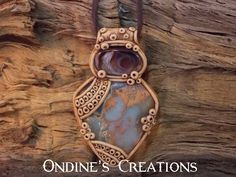 Mexican Fire Agate, Snake Skin Jasper Crystal Mineral Healing Stone Hand Crafted Pendant #46 by OndinesCreations on Etsy