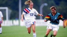 Carin Jennings-Gabarra of the USA runs down the field during a game against Germany