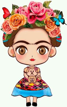 Risultato immagini per festa frida kahlo infantil Frida Kahlo Cartoon, Frida Kahlo Birthday, Mexican Art, Tattoo Studio, Folk Art, Saatchi, Chibi, Illustration Art, Artsy