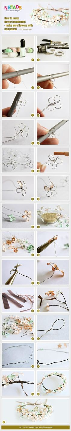 How to Make Flower Headbands – Make Wire Flowers with Nail Polish – Nbeads - Nagellack Ideen Wire Crafts, Crafts To Do, Hobbies And Crafts, Jewelry Crafts, Easy Crafts, Easy Diy, Nail Polish Flowers, Nail Polish Crafts, Nail Polish Jewelry