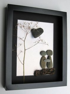Personalized Engagement Gift and Unique Couples Art - Pebble Art - Personalized Engagement Gift and Unique Couples by SticksnStone Stone Crafts, Rock Crafts, Arts And Crafts, Diy Crafts, Simple Crafts, Paper Crafts, Caillou Roche, Art Rupestre, Personalized Engagement Gifts