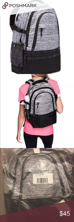 Vs Pink Backpack Brand new in online packaging!   Pink Collegiate Backpack  Color: Light Grey Marl  With more pockets and sturdier straps Padded straps with mesh overlay for breathability Adjustable side compression straps for added support Durable, reinforced bottom panel  Zippered padded laptop sleeve fits 17'' laptop Three exterior pockets Two interior mesh pockets Mesh side pockets with adjustable elastic—perfect for water bottles! Sturdy, extra padded haul handle Breathable mesh overlay…