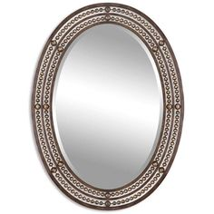 Uttermost 'Matney' Distressed Bronze Oval Wall Mirror (143.775 CLP) ❤ liked on Polyvore featuring home, home decor, mirrors, brown, uttermost wall mirrors, brown wall mirror, brown mirror, uttermost mirrors and vertical mirror