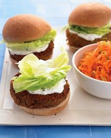 Mediterranean Veggie Burgers with Mint-Yogurt Sauce and Carrot Salad - Hearty burgers get a healthy makeover with canned lentils. Spread on a tangy yogurt-mint sauce, and serve a zesty carrot salad on the side. When combining the burger ingredients in the food processor, don't overprocess; you want some small chunks to remain to give the patties a nice texture.