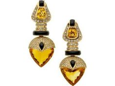 Estate Jewelry:Earrings, Citrine, Black Onyx, Diamond, Gold Earrings at Heritage Auctions Jewelry Art, Gemstone Jewelry, Antique Jewelry, Vintage Jewelry, Jewelry Accessories, Fine Jewelry, Jewelry Design, Fashion Jewelry, Rhinestone Jewelry