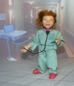 fully posable with stethoscope and clip board