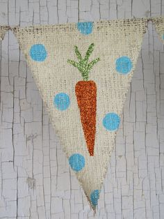 Easter Carrots Glittered Burlap Banner by funkyshique on Etsy