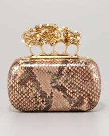 Alexander McQueen Python & Pearl Knuckle-Duster Box Clutch