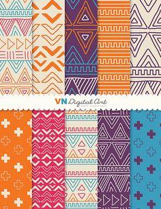 [Digital Paper Doodle Tribal Aztec Digital by VNdigitalart on Etsy, $3.00]