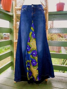 African Print Ruffle Bustle RE.cycled Denim Skirt by honorebel African Print Dresses, African Print Fashion, African Wear, Traditional Skirts, The Maxx, Ankara Skirt, Model Outfits, Altering Clothes, Denim Jeans