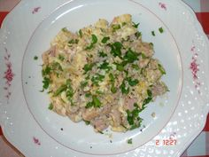 pork brain with scrambled eggs, original recipe uses calf brain. believed to make wise (and fat).
