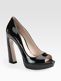 Miu Miu - Patent Leather Peep Toe Flared Heel Pumps - Saks.com
